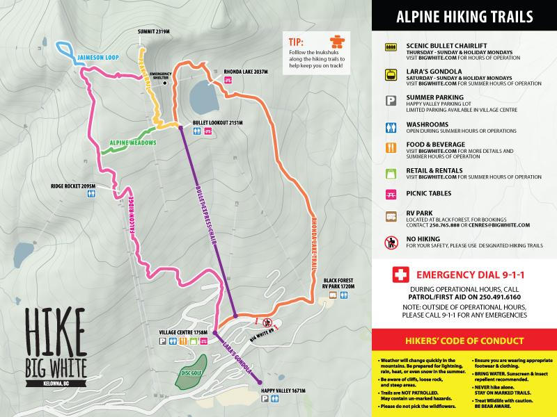 Big White summer hiking map 2021