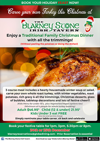 Blarney Stone holiday menu