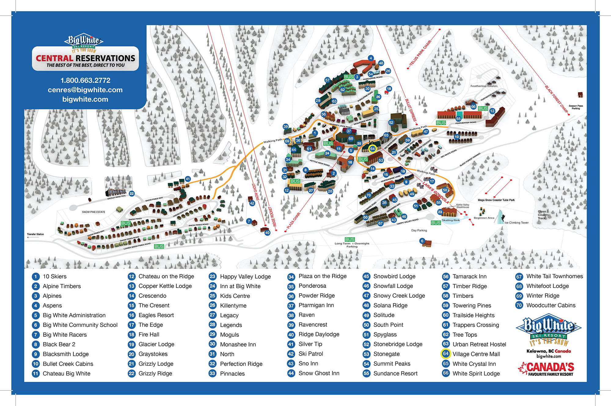 Maps Brochures Big White - Us ski resorts map
